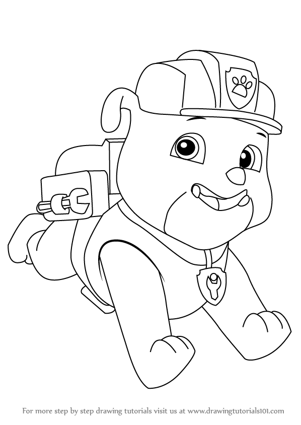 598x844 Learn How To Draw Rubble From Paw Patrol (Paw Patrol) Step By Step
