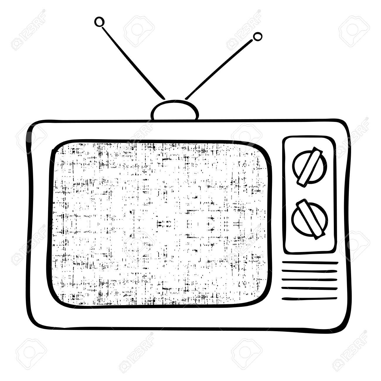 1300x1300 Old Tv Set Hand Drawn Vector Illustration. Vintage Grunge
