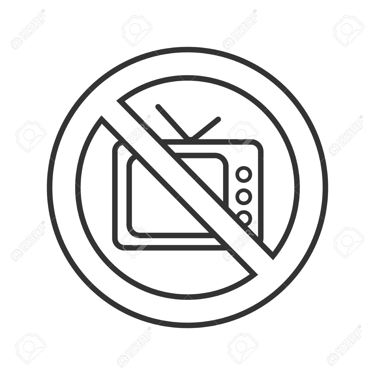 1300x1300 Forbidden Sign With Tv Set Linear Icon Royalty Free Cliparts