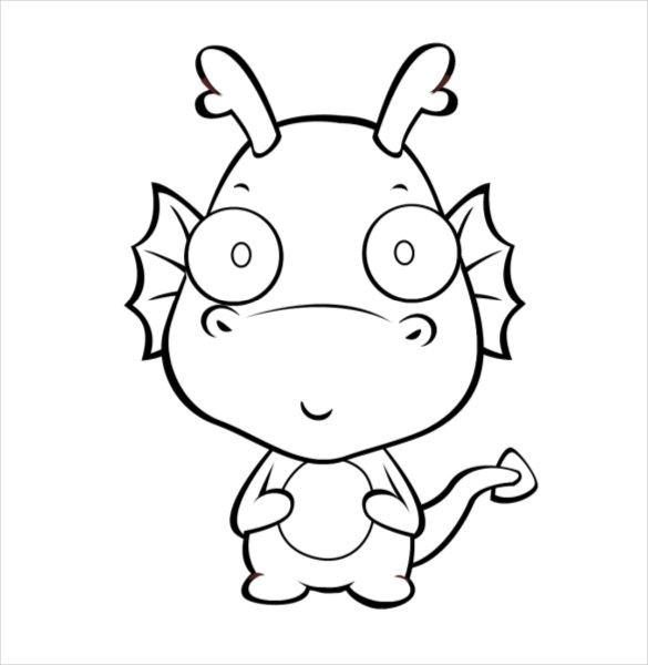 585x600 Dragon Drawing Template Free Pdf Documents Download! Free