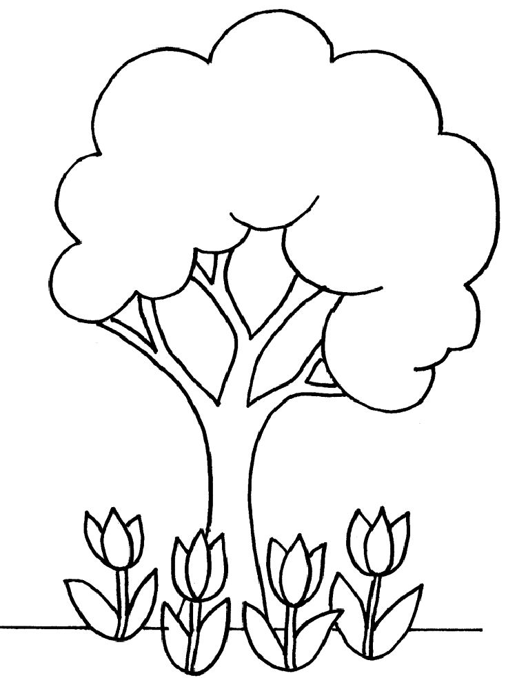 750x1000 Coloring Page Is A Good Pattern Or Template Of Tree And Flowers