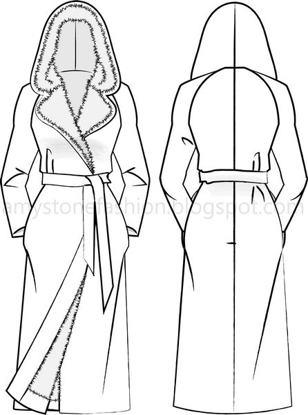 446x600 Amy Stone Fashion Flat Sketches Hooded Wrap Coat Flat Fashion