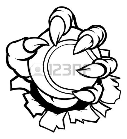410x450 Monster Or Animal Claw Holding Tennis Ball Royalty Free Cliparts