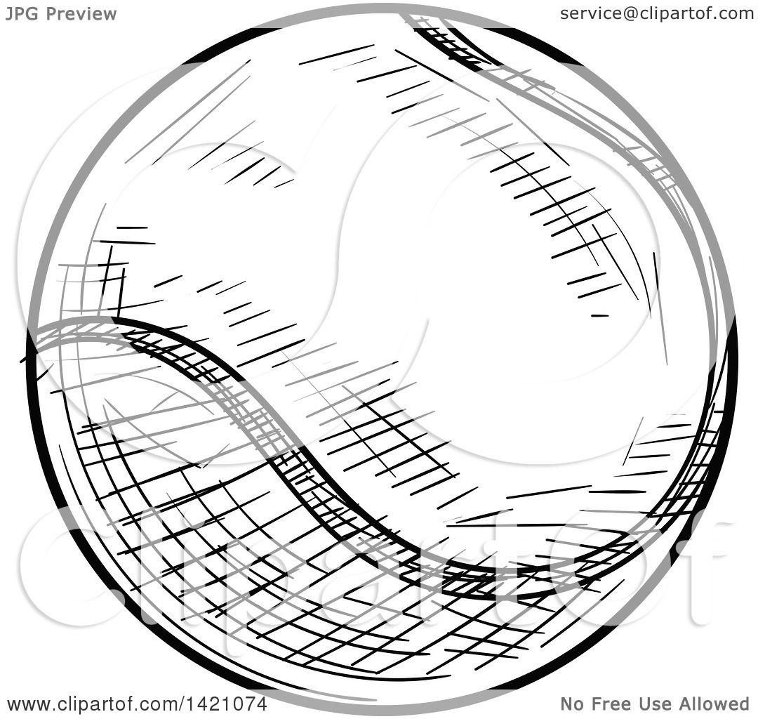 1080x1024 Sports Clipart Of A Black And White Sketched Tennis Ball