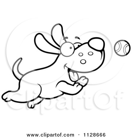 450x470 Cartoon Clipart Of An Outlined Happy Dog Chasing A Tennis Ball
