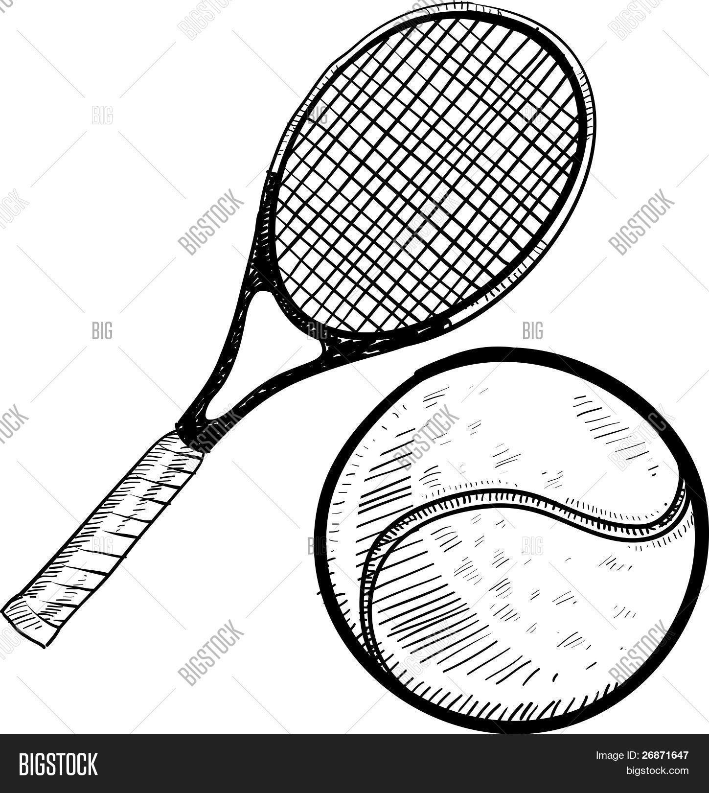 1449x1620 Tennis Ball Racket Sketch Vector Amp Photo Bigstock