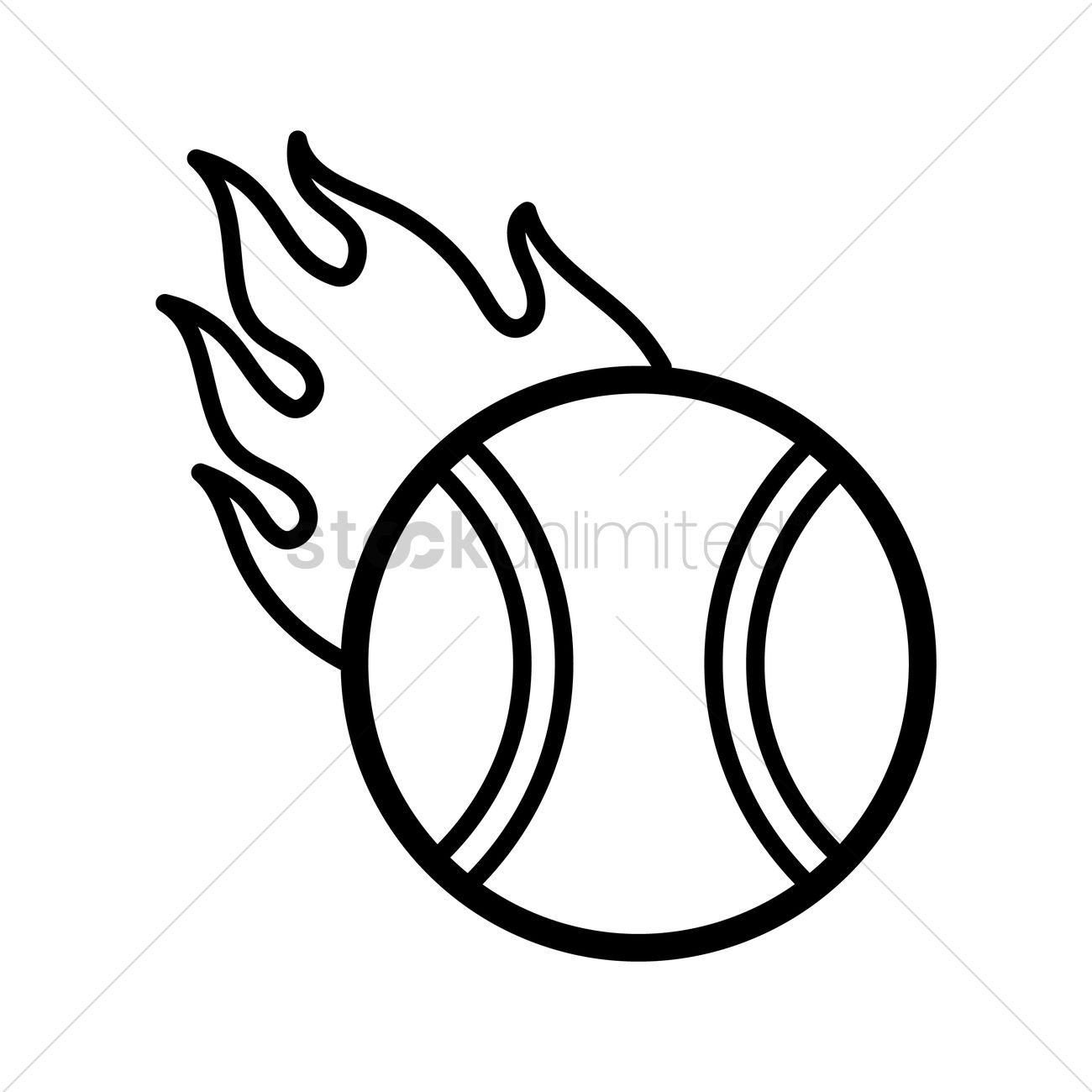1300x1300 Tennis Ball On Fire Vector Image
