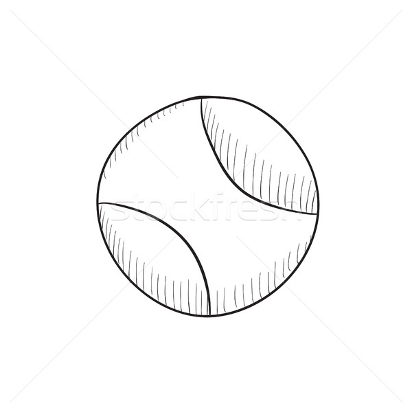 600x600 Tennis Ball Sketch Icon. Vector Illustration Andrei Krauchuk