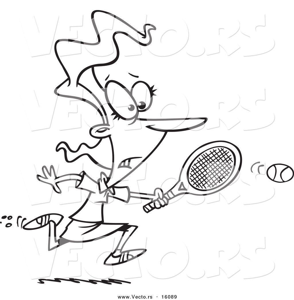 1024x1044 Vector Of A Cartoon Girl Chasing An Elusive Tennis Ball