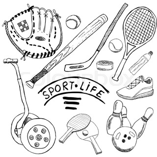 320x320 Sport Balls Hand Drawn Sketch Set With Baseball, Bowling, Tennis