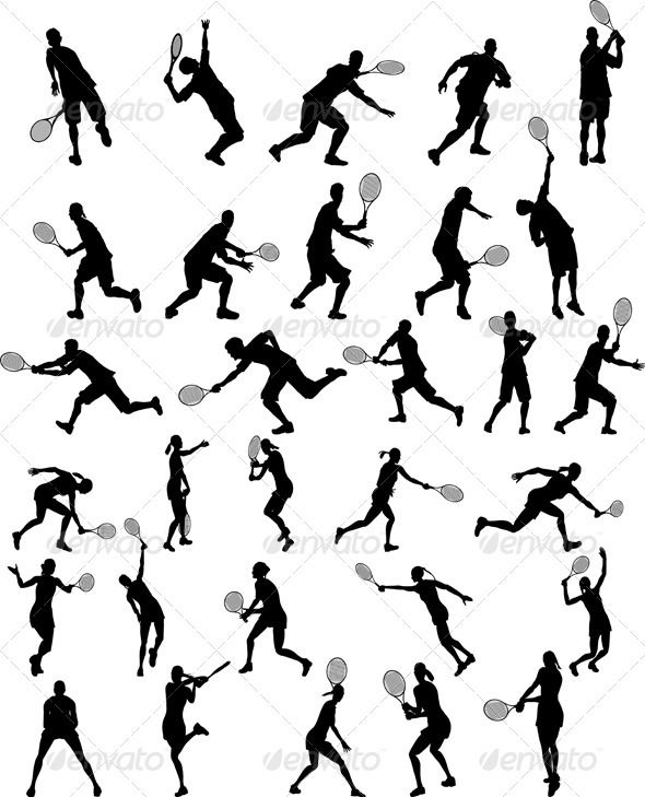 590x729 Set Of Tennis Players Silhouettes Tennis Players, Tennis