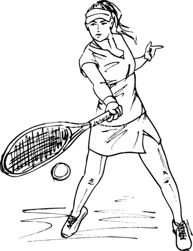 386x500 Sketch Of Woman With Tennis Racket. Vector Illustration