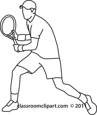 317x375 Sports Clipart Tennis Player Back Hand Stroke Black