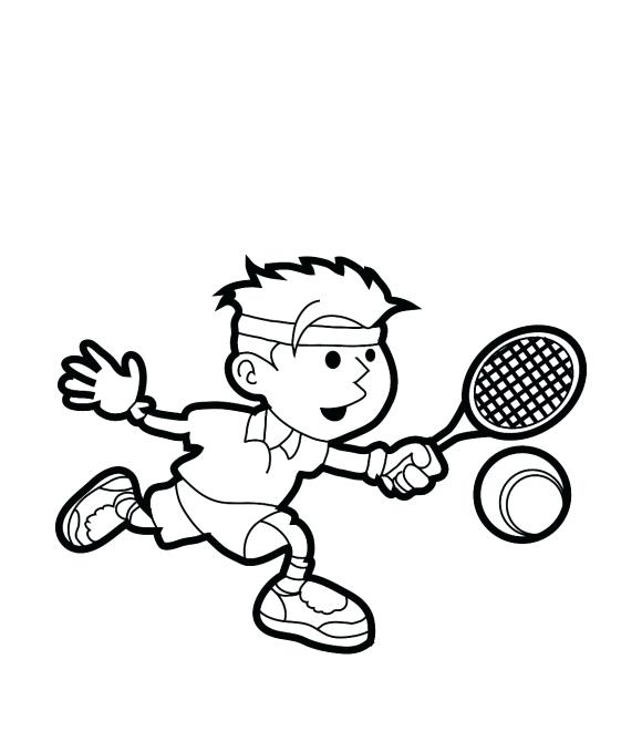 580x679 Tennis Coloring Pages Tennis Racket Coloring Pages