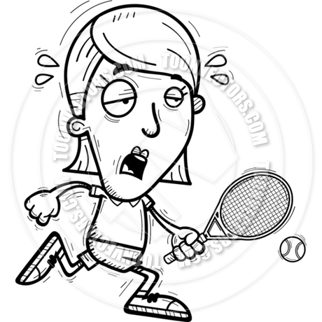 460x460 Cartoon Tennis Player Exhausted (Black Amp White Line Art) By Cory