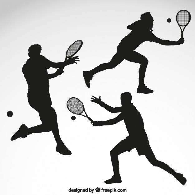 626x626 Tennis Player Silhouettes Vector Premium Download