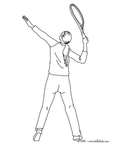 364x470 Woman Tennis Player Overhand Serve Coloring Pages