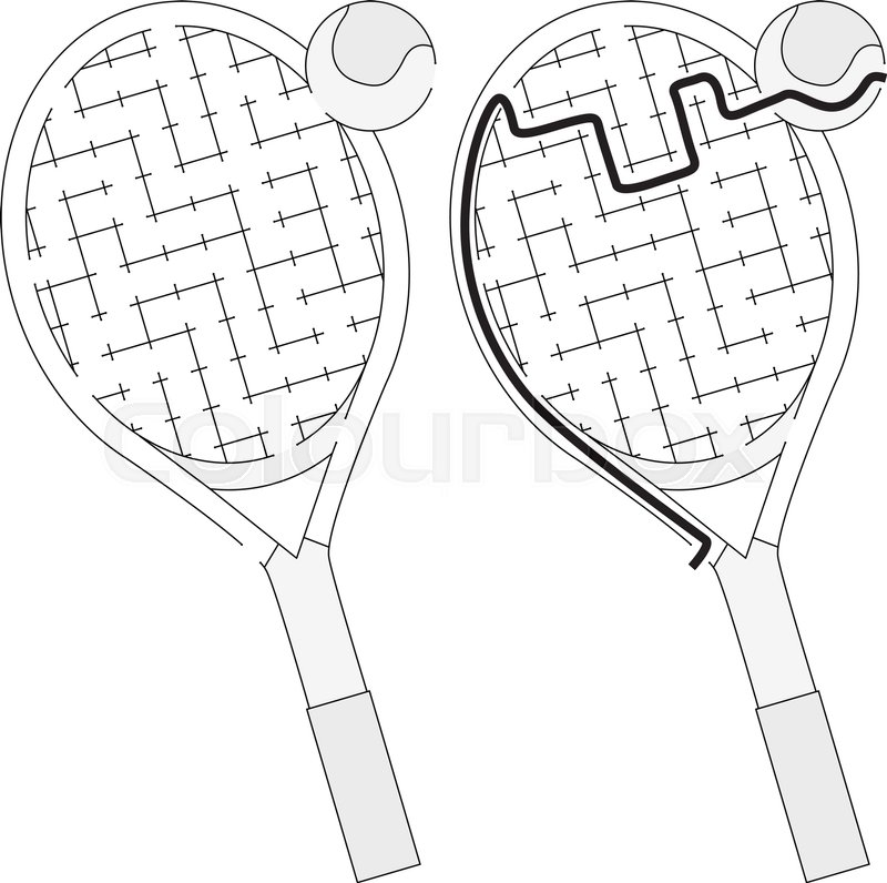 800x796 Easy Tennis Racket Maze For Kids With A Solution In Black