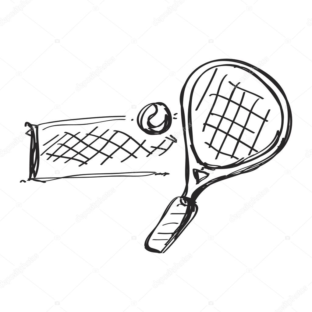 1024x1024 Simple Doodle Of A Tennis Racket Stock Vector Chrishall