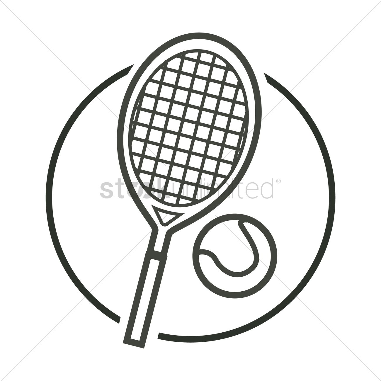 1300x1300 Tennis Racket And Ball Vector Image
