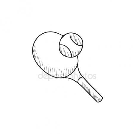 450x450 Tennis Racket And Ball. Vector Drawing Stock Vector Marinka