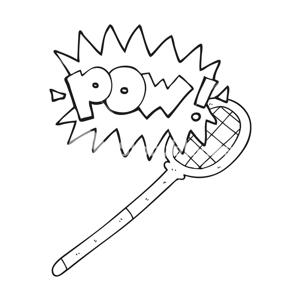 1000x1000 Freehand Drawn Black And White Cartoon Tennis Racket Royalty Free