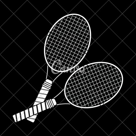 550x550 Tennis Racquet Sports Equipment Vector Illustration Icon
