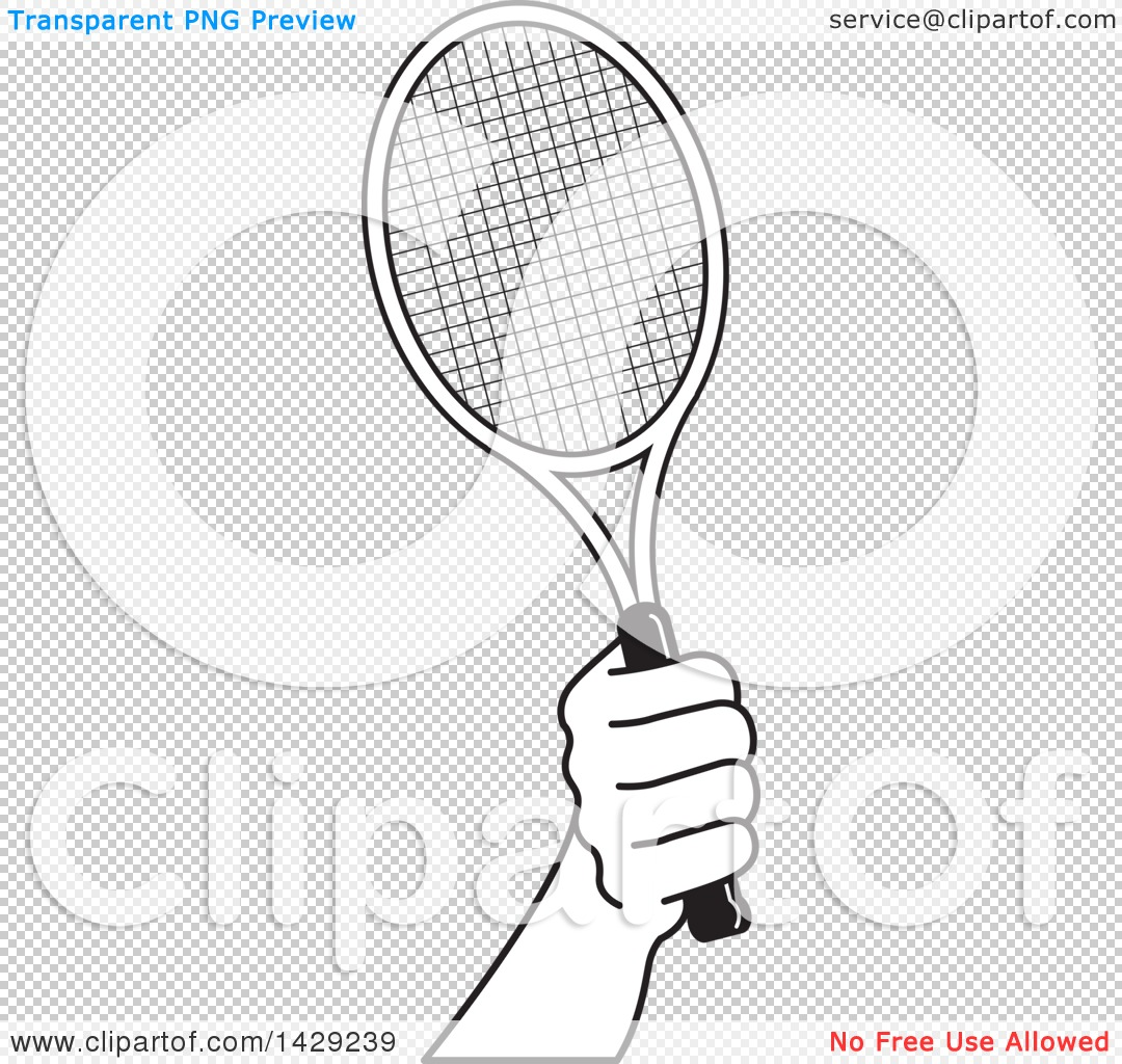 1080x1024 Clipart Of A Black And White Hand Holding A Tennis Racket