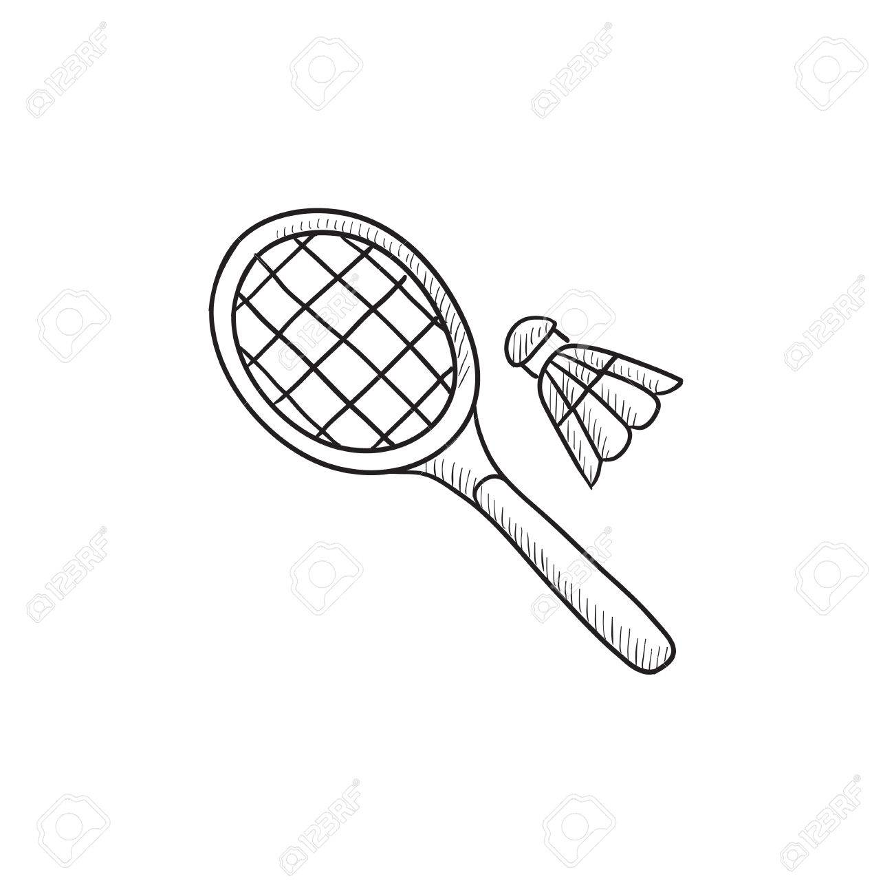 1300x1300 Shuttlecock And Badminton Racket Vector Sketch Icon Isolated