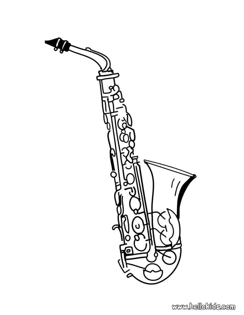 800x1034 Saxophone Coloring Page Sketch It Saxophones