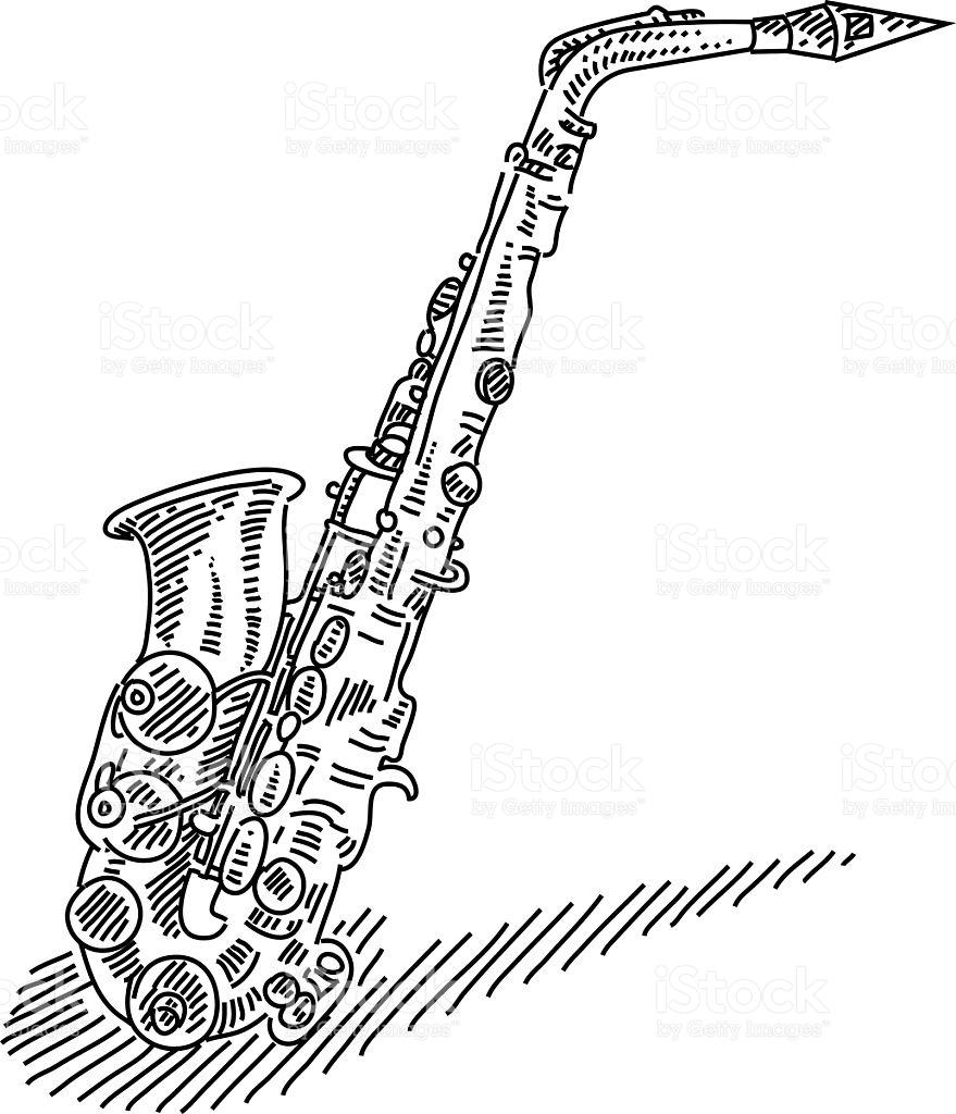 879x1024 Saxophone Drawing