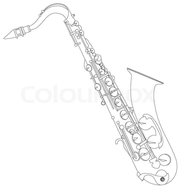 768x800 Tenor Saxophone Coloring Page Clarinet Coloring Page