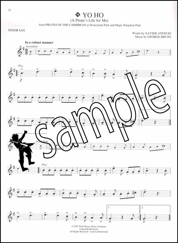737x1006 Disney Greats Tenor Saxophone Instrumental Play Along Sheet Music