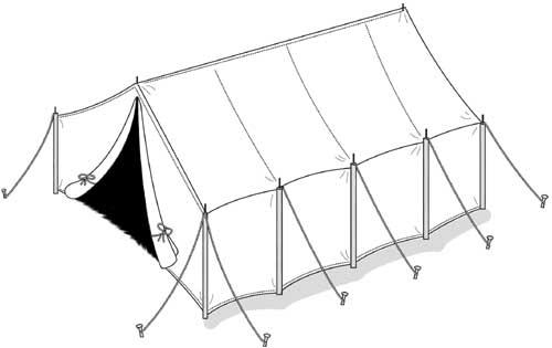500x315 Inside Pole 8 X 10' Wall Tent, 7' Ridge, 10 Oz. Water Repellent