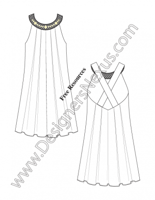 316x409 Inverted Pleat Tent Dress V15 Fashion Technical Drawing