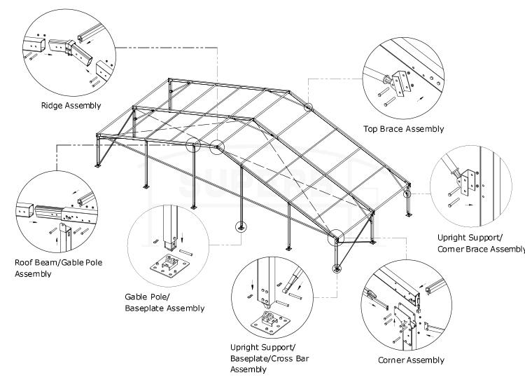 750x552 Outdoor Glass Wall Aluminium Tent [Bs Series]