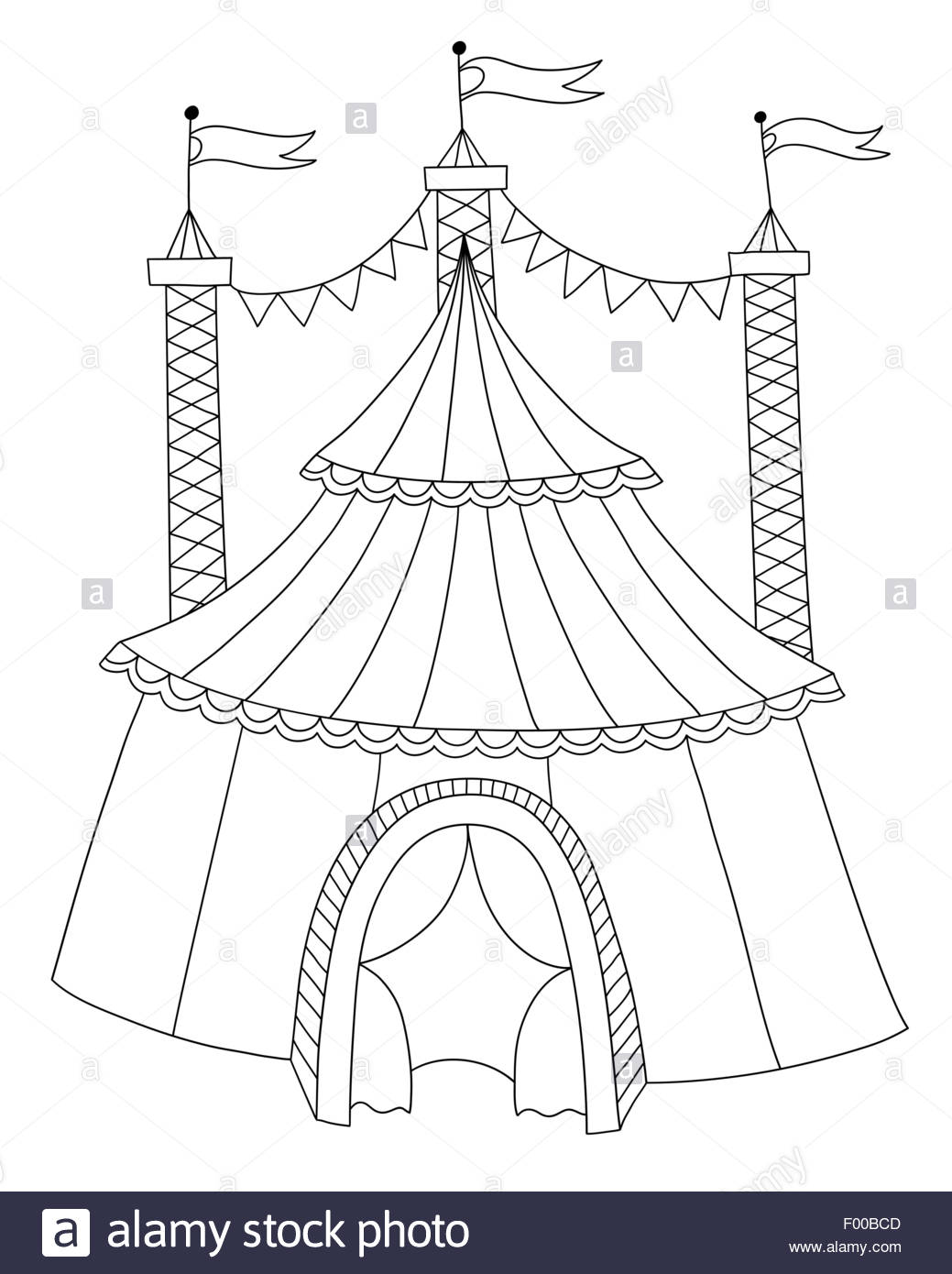 1039x1390 Black And White Line Art Illustration Of Circus Tent Stock Vector