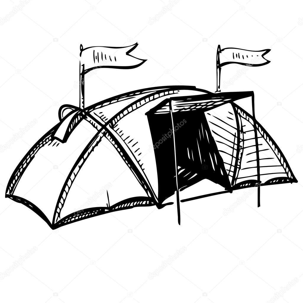 1024x1024 Camping Tent. Hand Drawing Sketch Vector Illustration Stock