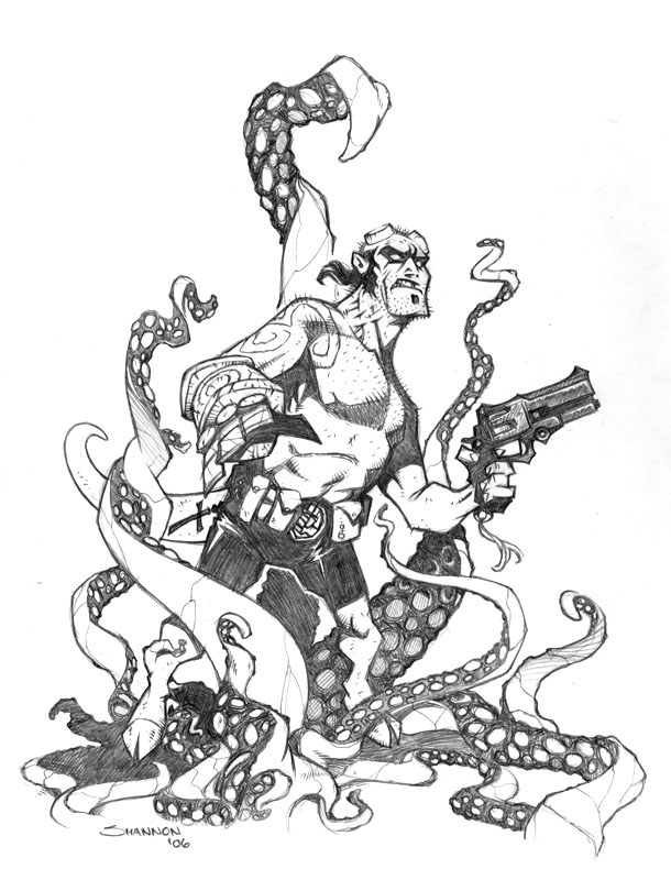 610x800 Hellboy Vs. The Tentacles By Voya