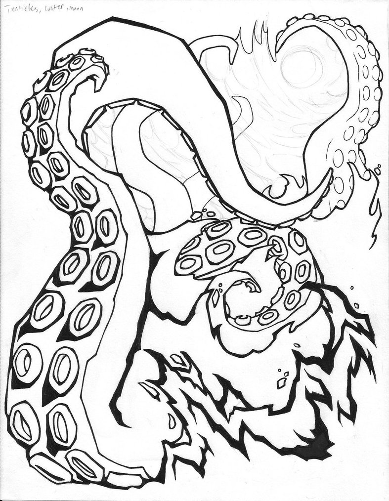 787x1014 Tentacles In Water Lines Tattoo Design By Darklightartist