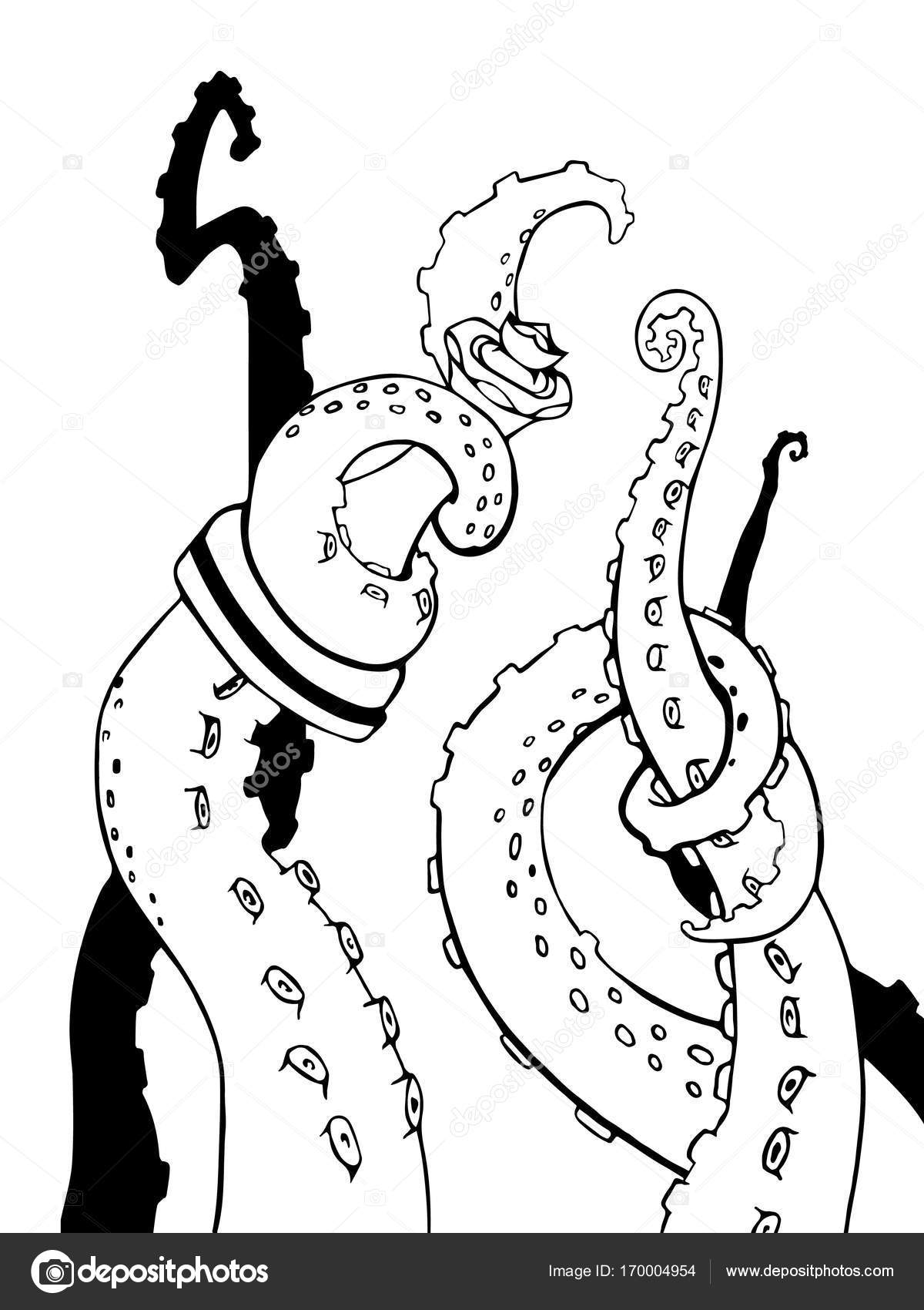 1200x1700 Vector Sketch Octopus Tentacles Stock Vector Juliamusdotter
