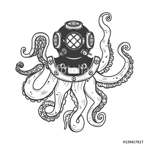 500x500 Diver Helmet With Octopus Tentacles Isolated On White Background