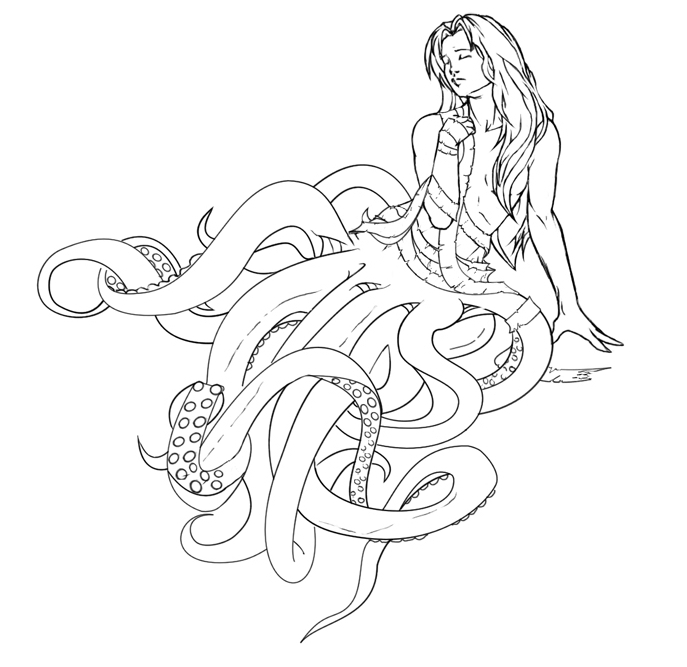 687x667 Girl With Tentacles Version 2 By Scribbletati