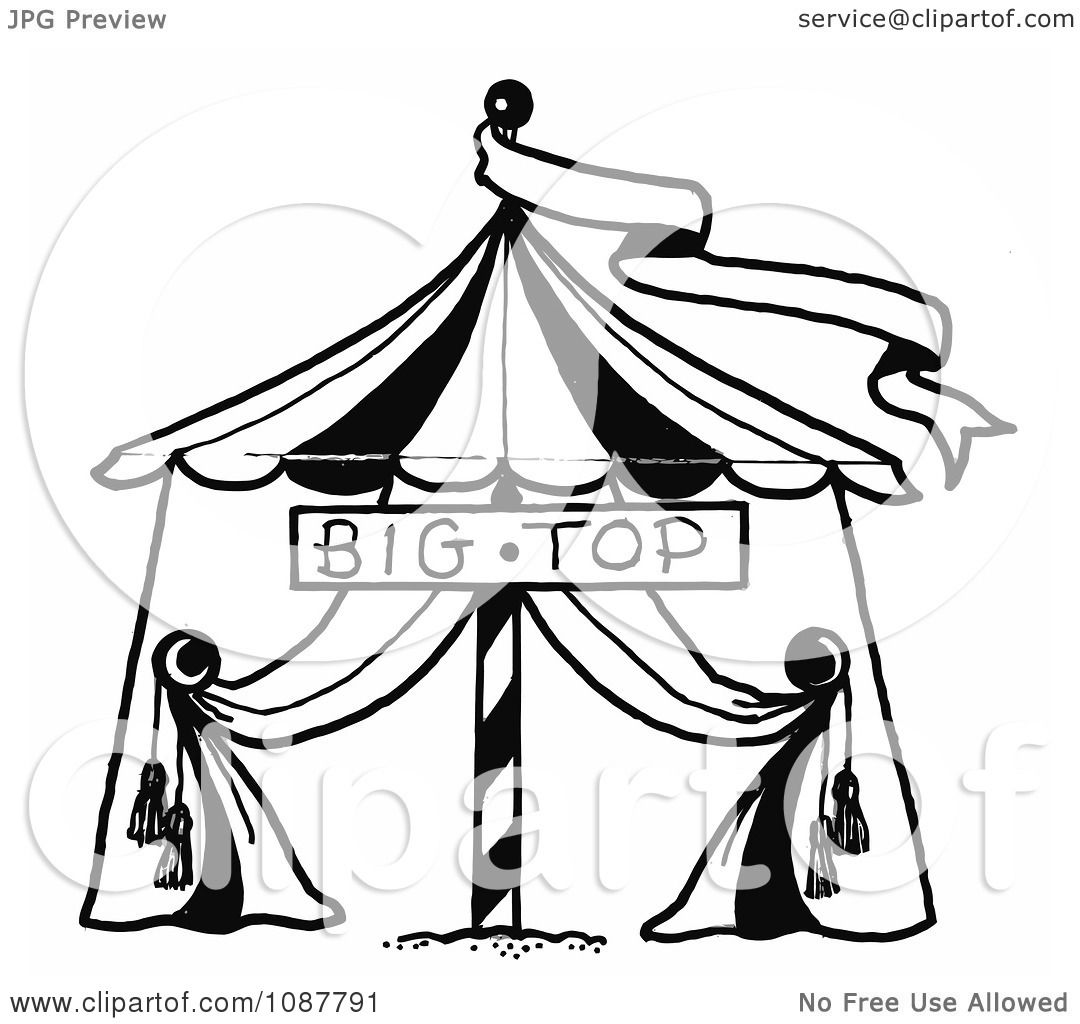 1080x1024 Clipart Sketched Circus Big Top Tent And Banner