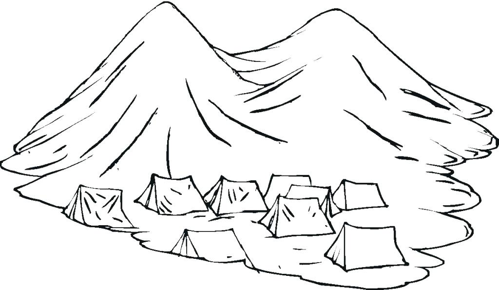 1024x595 Mountain Coloring Page Free Group Of Nomads Tents In The Mountains