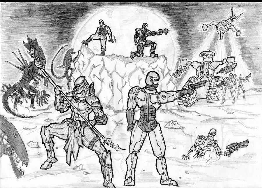 900x645 Alien Vs Terminator Predator,robocop,alien,termina By