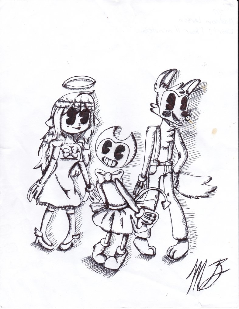 786x1016 Bendy, Alice, And Boris Test Draw By Mjthecritic