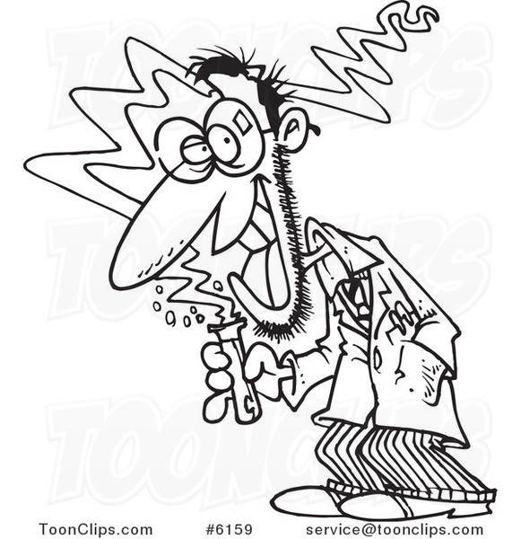 581x600 Cartoon Blacknd White Line Drawing Of Mad Scientist Holding