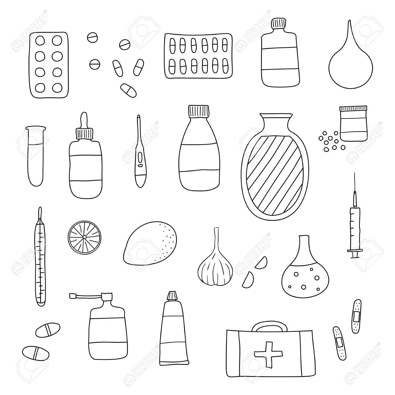1300x1300 Hand Drawn Outline Medical Items Isolated On White Background