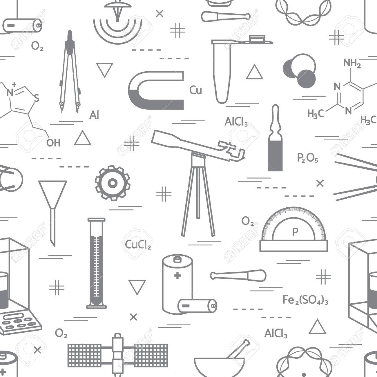 1300x1300 Seamless Pattern With Variety Scientific, Education Elements